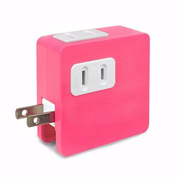 ULI 炫彩2A雙USB充電插座-粉紅