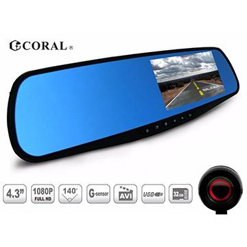 CORAL R2 PLUS旗艦版後視鏡型前後雙錄行車紀錄器-140度廣角加16G記憶卡