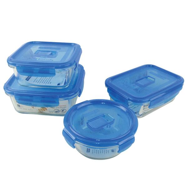 法國Luminarc樂美雅新純淨玻璃微烤保鮮盒4件組