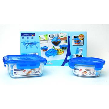 法國Luminarc樂美雅強化玻璃微烤保鮮盒2件組(760ml+420ml)