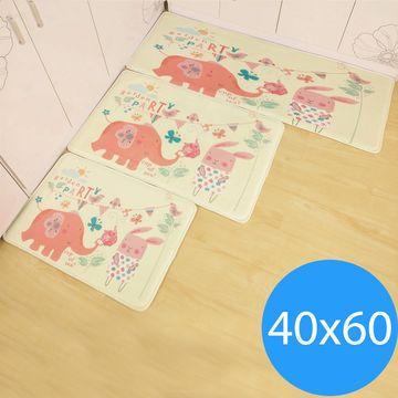 Conalife  法蘭絨超軟小清新防滑地墊(40x60cm)-大象