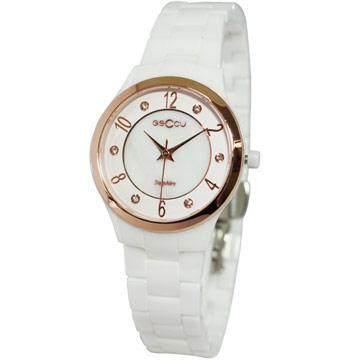 GECCU 優雅系貝殼面陶瓷腕錶(白-玫瑰金)GU-8812