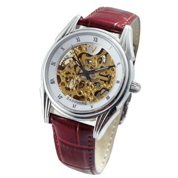 范倫鐵諾 鏤空金機白框羅馬機械錶-紅/女錶/中性錶/皮帶錶/自動錶