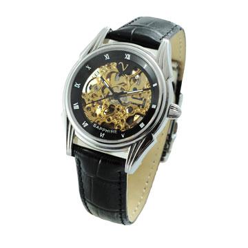 范倫鐵諾 鏤空金機黑框機械錶-黑金/女錶/中性錶/皮帶錶/自動錶