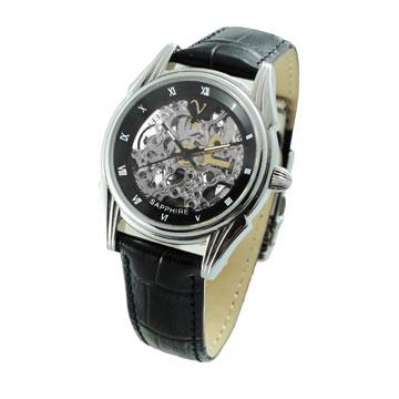 范倫鐵諾 鏤空銀機黑框機械錶-黑銀/女錶/中性錶/皮帶錶/自動錶