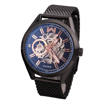 Wilon 威龍 2061-IP 雙面鏤空背蓋全自動機械錶-黑帶玫瑰金針