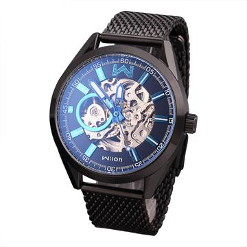 Wilon 威龍 2061-IP雙面鏤空背蓋 全自動機械錶-黑帶藍針