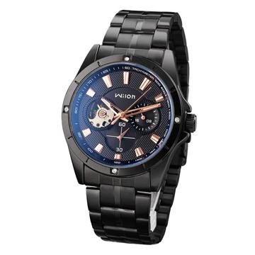 Wilon 威龍2065-IP 免電池全自動上鏈機械錶-黑帶玫瑰金針