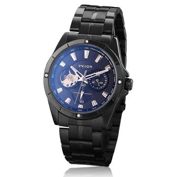 Wilon 威龍2065-IP 免電池全自動上鏈機械錶-黑帶銀針