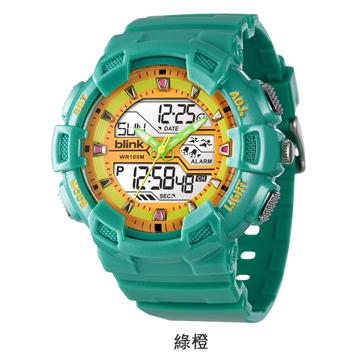 JAGA捷卡重裝悍將-多功能兩地時間防水運動電子錶(綠橙)AD935