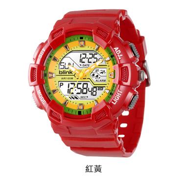JAGA捷卡重裝悍將-多功能兩地時間防水運動電子錶(紅黃)AD935