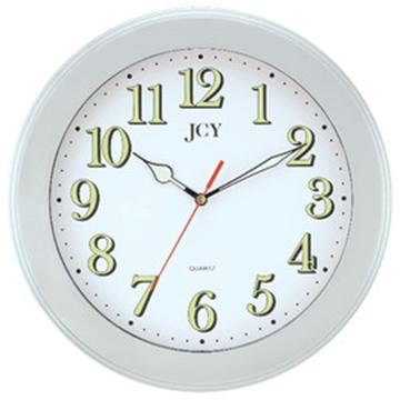 JCY W-6873銀框靜音夜光掛鐘/時鐘/壁鐘