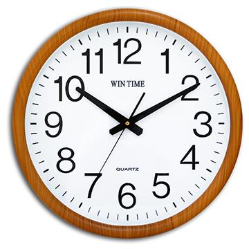WIN TIME W-9145 居家天然木質紋框靜音掛鐘 - 淺咖啡柚木紋