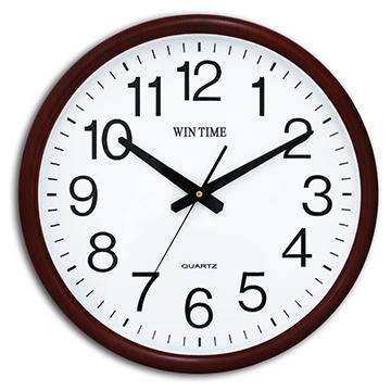 WIN TIME W-9145 居家天然木質紋框靜音掛鐘 - 深咖啡柚木紋