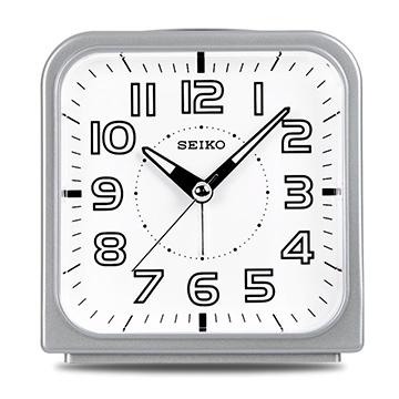 【日本精工-SEIKO】QHK025方型夜光靜音貪睡鬧鐘-銀色