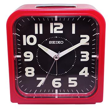 【日本精工-SEIKO】QHK025方型夜光靜音貪睡鬧鐘-紅色