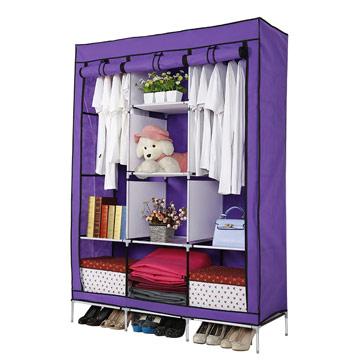 超大三排加寬加高8格簡易防塵衣櫃-紫色