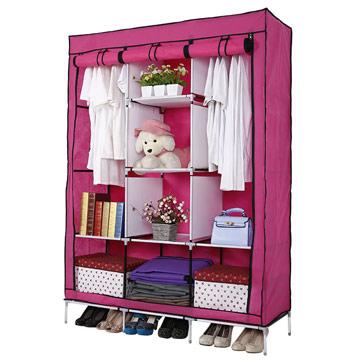 超大三排加寬加高8格簡易防塵衣櫃-粉紅