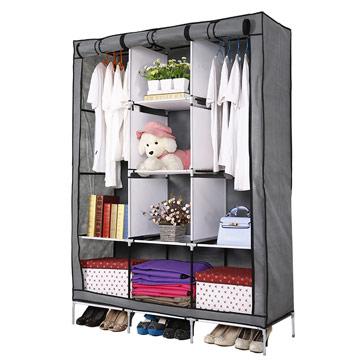 超大三排加寬加高8格簡易防塵衣櫃-鐵灰