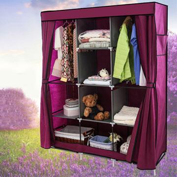 超大加寬雙門三排組合式DIY防塵衣櫃衣櫥-雙門衣櫃紅