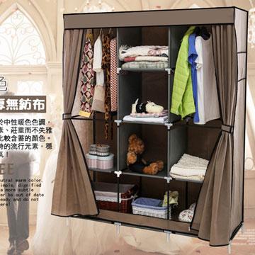 超大加寬雙門三排組合式DIY防塵衣櫃衣櫥-雙門衣櫃咖