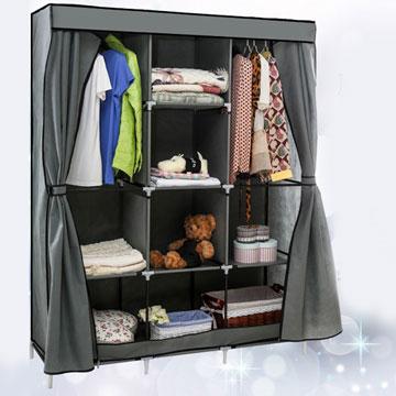 超大加寬雙門三排組合式DIY防塵衣櫃衣櫥-雙門衣櫃灰