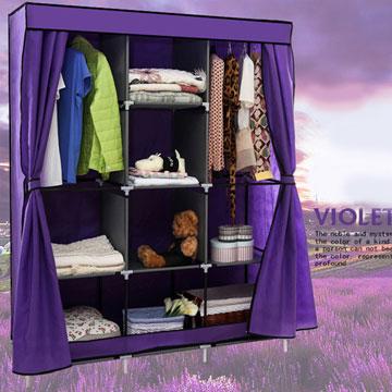 超大加寬雙門三排組合式DIY防塵衣櫃衣櫥-雙門衣櫃紫