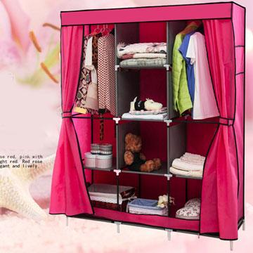 超大加寬雙門三排組合式DIY防塵衣櫃衣櫥-雙門衣櫃粉