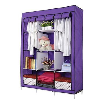 超大三排加寬加高8格簡易防塵衣櫃 (覆膜升級版)紫色
