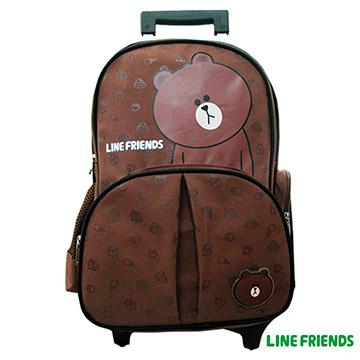 【LINE FRIENDS】可拆式拉桿書包LI-5340咖_熊大