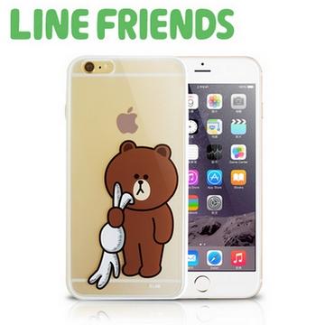 LINE FRIENDS iPhone 6 Plus透明硬式保護殼-黑暗熊大