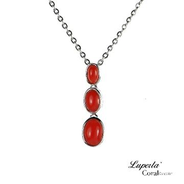 大東山珠寶 天然全紅珊瑚節節高升墬飾項鍊