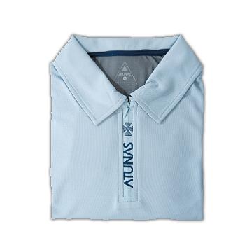 歐都納抗UV排汗衣Atunas-Tex男短袖POLO衫(淺藍/灰藍)-M