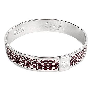 COACH新款咖啡紅C Logo時尚手環