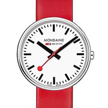 MONDAINE瑞士國鐵MINI GIANT小巨人腕錶/35mm-紅錶帶