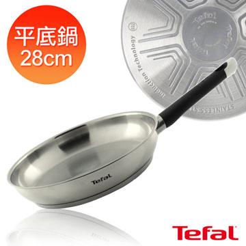 【Tefal】法國特福 藍帶不鏽鋼系列28cm平底鍋+鍋鏟