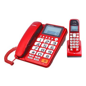 WONDER旺德 2.4G超大字鍵數位無線電話WT-D03-紅