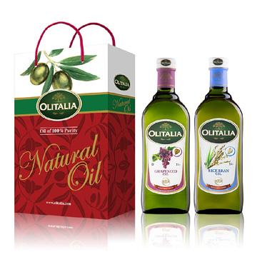 Olitalia奧利塔葡萄籽油+玄米油禮盒組(1000mlx2瓶)