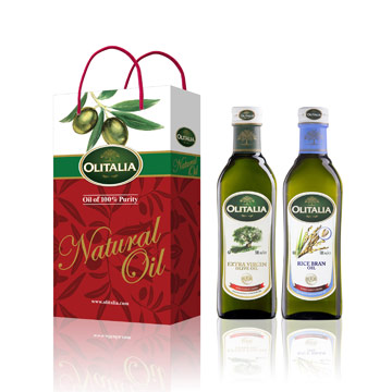 Olitalia奧利塔特級冷壓橄欖油+玄米油禮盒組(500mlx2瓶)