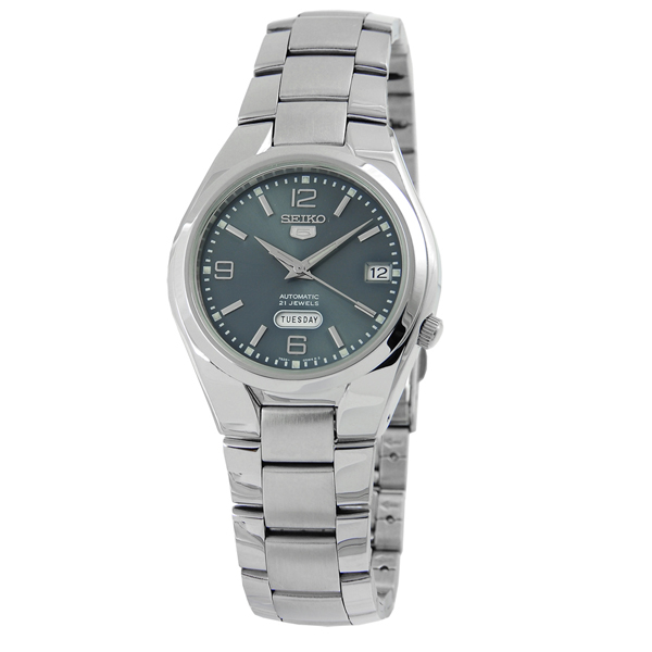 SEIKO精工5號盾牌尊爵機械腕錶(藍灰)SNK 621