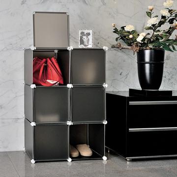 ikloo-6格6門收納櫃-12吋百變收納櫃/組合櫃-黑色