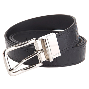 【COACH】壓印C Logo全皮革正反兩用針扣皮帶-黑色