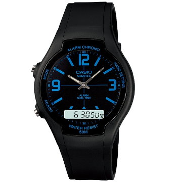 CASIO卡西歐‧經典指針雙顯錶AW-90H-2B