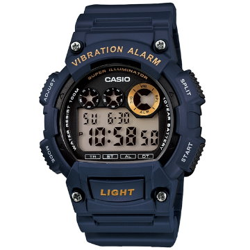 CASIO震動鬧鈴數位運動錶-藍W-735H-2A