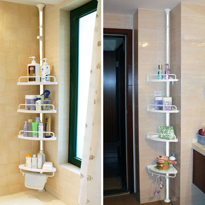 超實用廚房浴室頂天立地轉角四層收納架