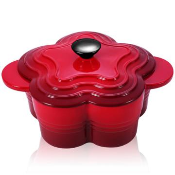 【御工匠】PASTON法式浪漫花漾鑄鐵琺瑯鍋-紅