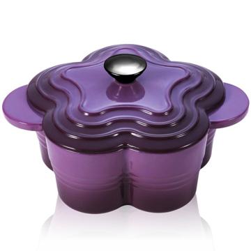 【御工匠】PASTON法式浪漫花漾鑄鐵琺瑯鍋-紫