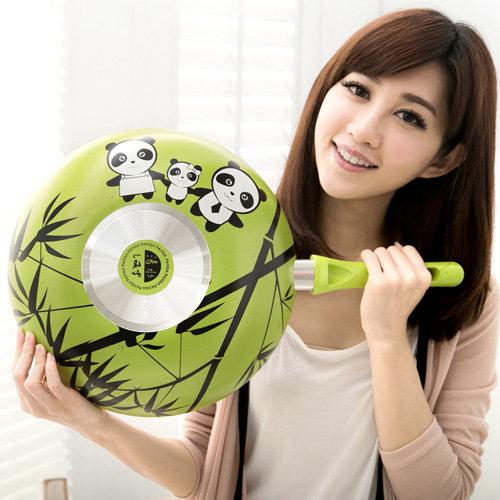 清水 麗彩熊貓不沾平炒鍋含蓋32CM-綠色