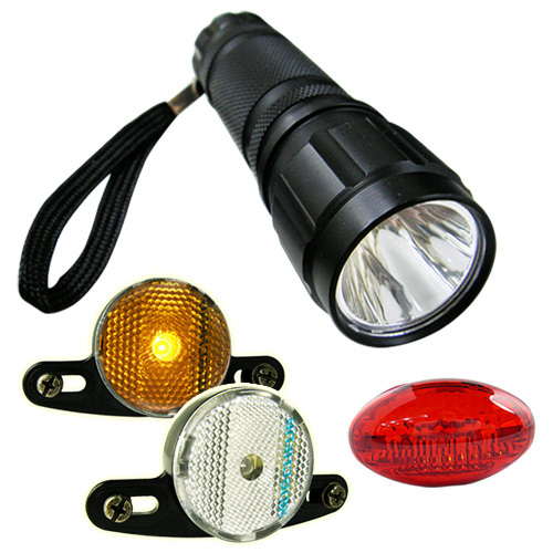 Bike master 自行車超值組(手電筒+後車燈+警示燈2入)