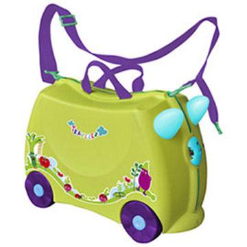 兒童可乘式遊戲車行李箱-黃綠